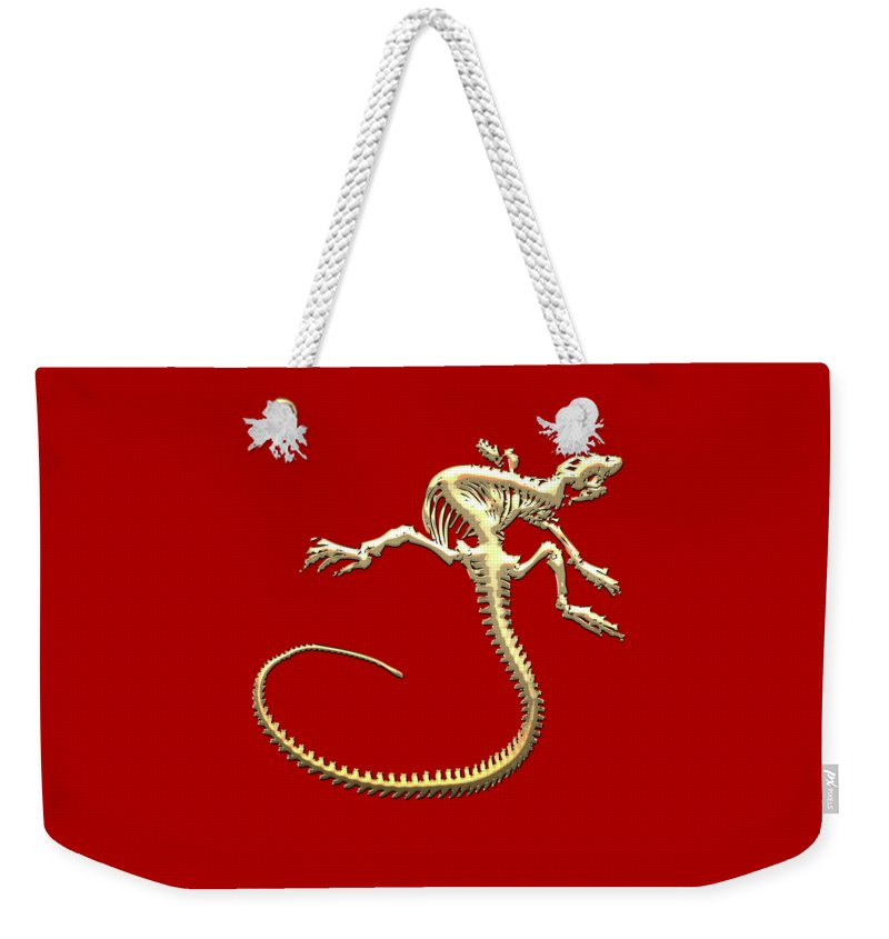 'precious Bones' Collection By Serge Averbukh Weekender Tote Bag featuring the digital art Iguana Skeleton In Gold On Red by Serge Averbukh