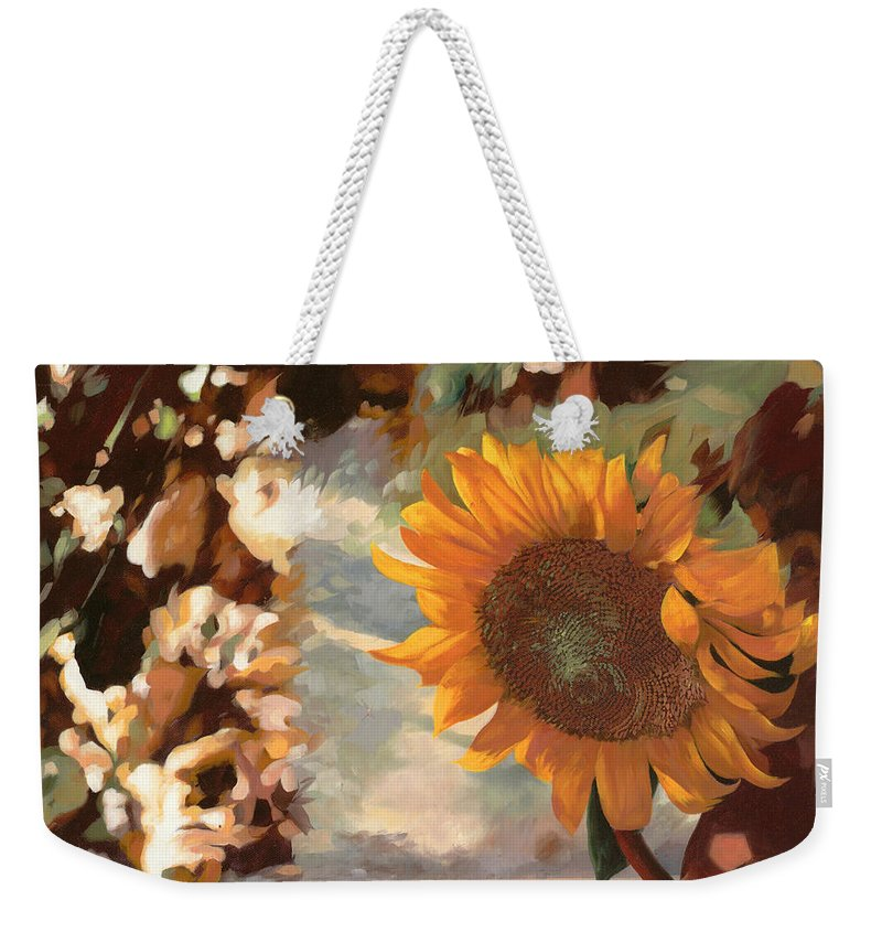 Sunflower.sunflowers Field Weekender Tote Bag featuring the painting Il Girasole by Guido Borelli