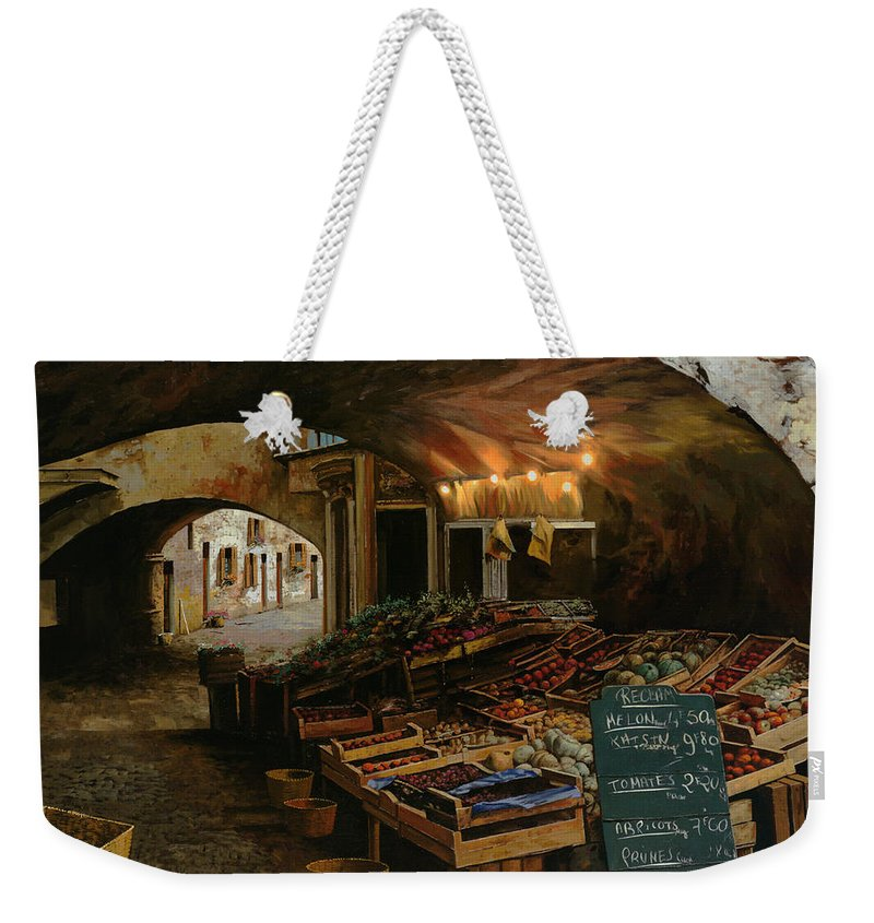 Market Weekender Tote Bag featuring the painting Il Mercato Francese by Guido Borelli