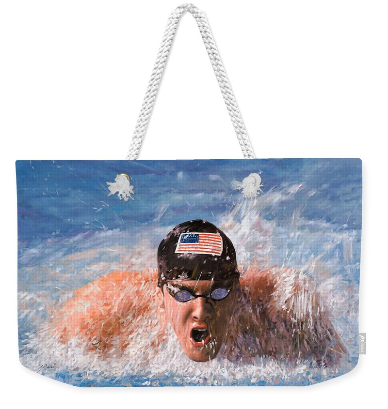 Swim Weekender Tote Bag featuring the painting Il Nuotatore by Guido Borelli