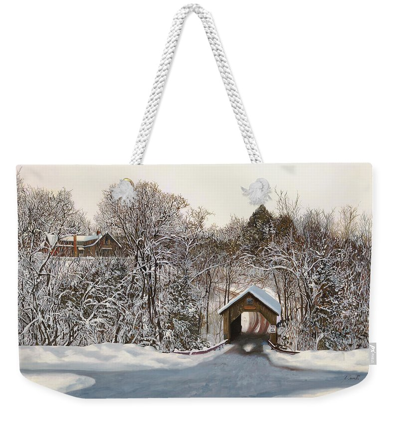 Stowe Weekender Tote Bag featuring the painting Il Ponte Coperto Di Legno by Guido Borelli