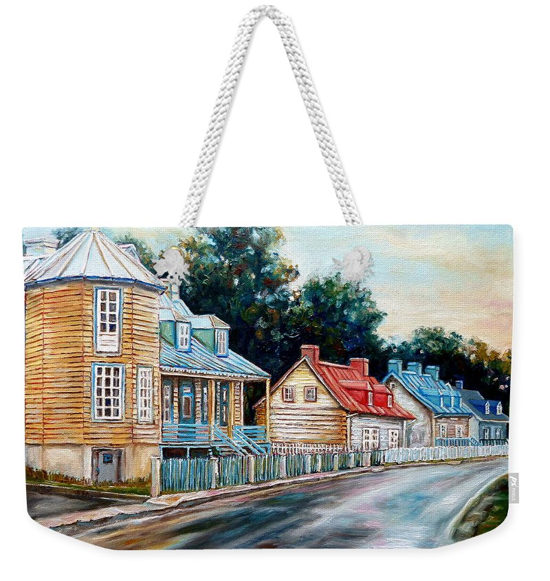 Ile D'orleans Weekender Tote Bag featuring the painting Ile D'orleans Quebec Street Scene by Carole Spandau
