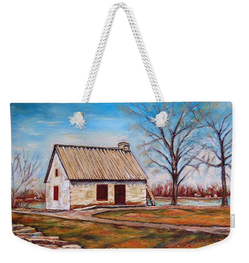 Ile Perrot Weekender Tote Bag featuring the painting Ile Perrot House by Carole Spandau