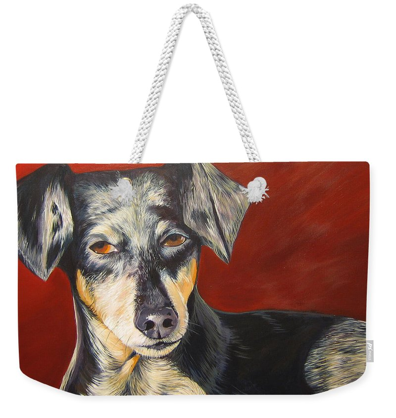 Dog Weekender Tote Bag featuring the painting I'll Be With You Momentarily by Hunter Jay