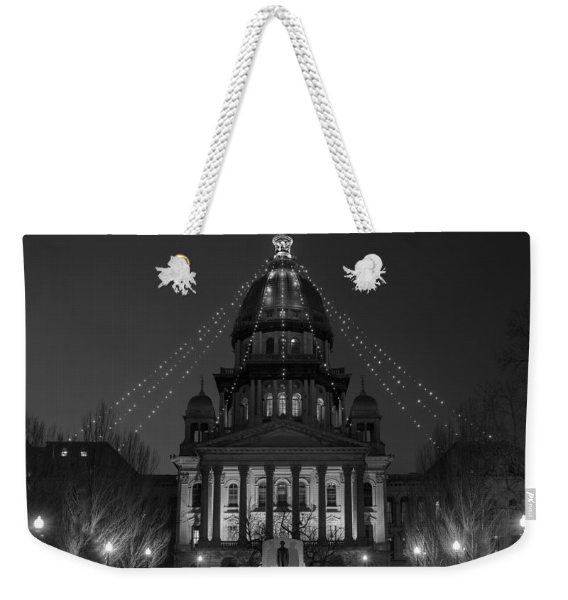 Illinois Weekender Tote Bag featuring the photograph Illinois State Capitol B W by Steve Gadomski