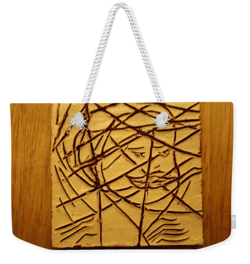 Jesus Weekender Tote Bag featuring the ceramic art Illuminate - Tile by Gloria Ssali
