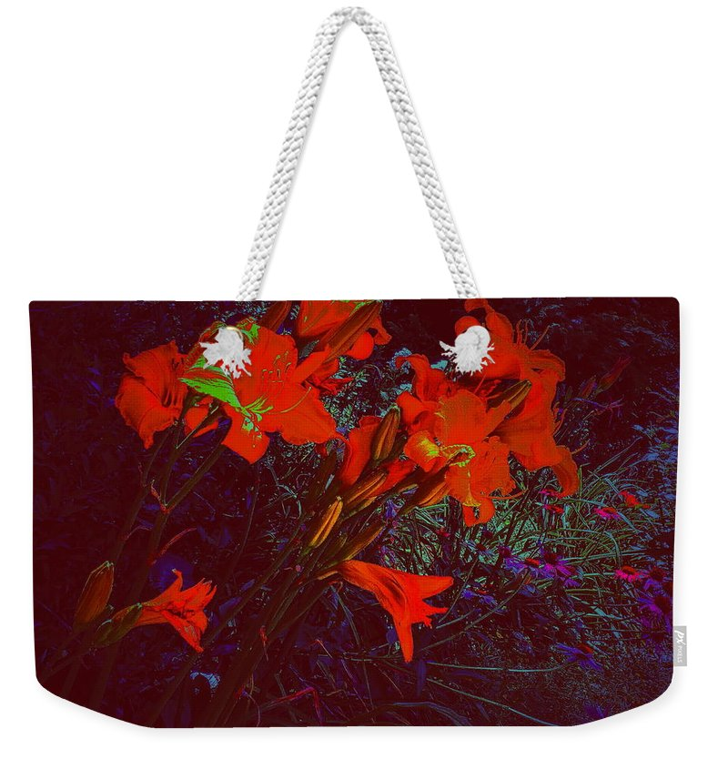 Daylillies Weekender Tote Bag featuring the photograph Illuminated Daylillies by Paul Kercher