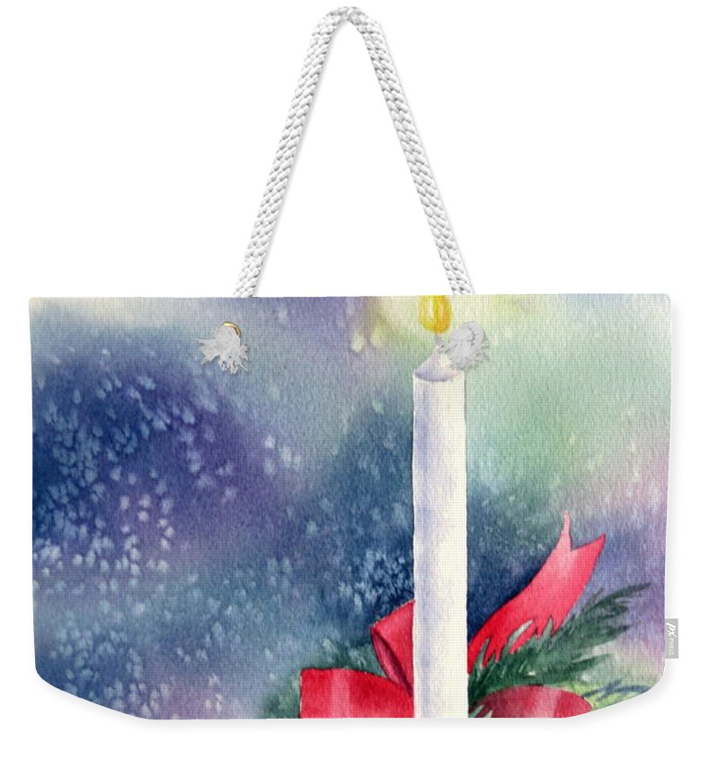 Candle Weekender Tote Bag featuring the painting Illumination by Deborah Ronglien