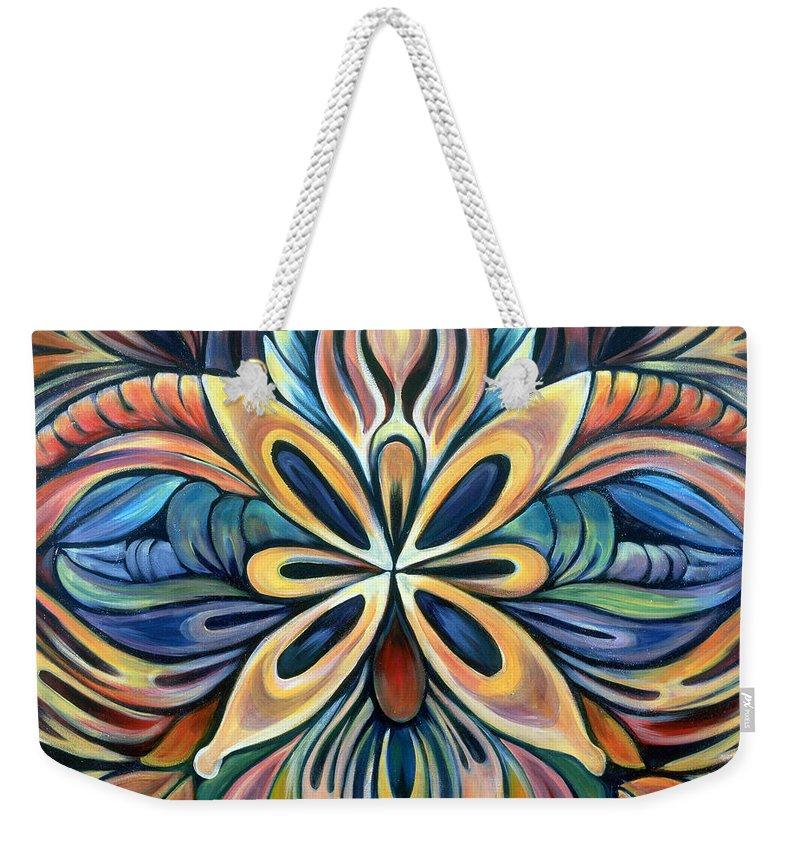 Mandala Weekender Tote Bag featuring the painting Illumination by Shadia Derbyshire