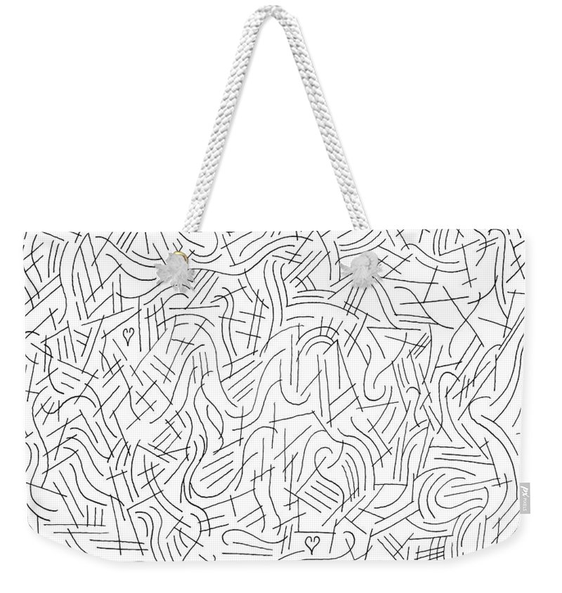 Pen Weekender Tote Bag featuring the drawing Illusory by Steven Natanson