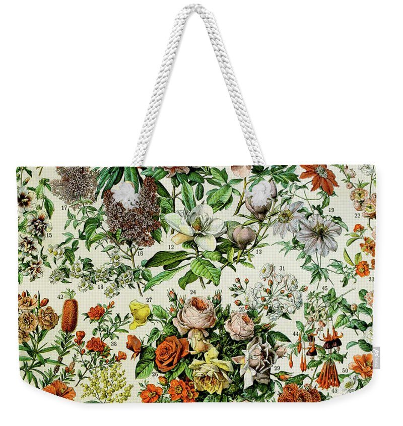 Floral Weekender Tote Bag featuring the drawing Illustration Of Flowering Plants by Adolphe Philippe Millot
