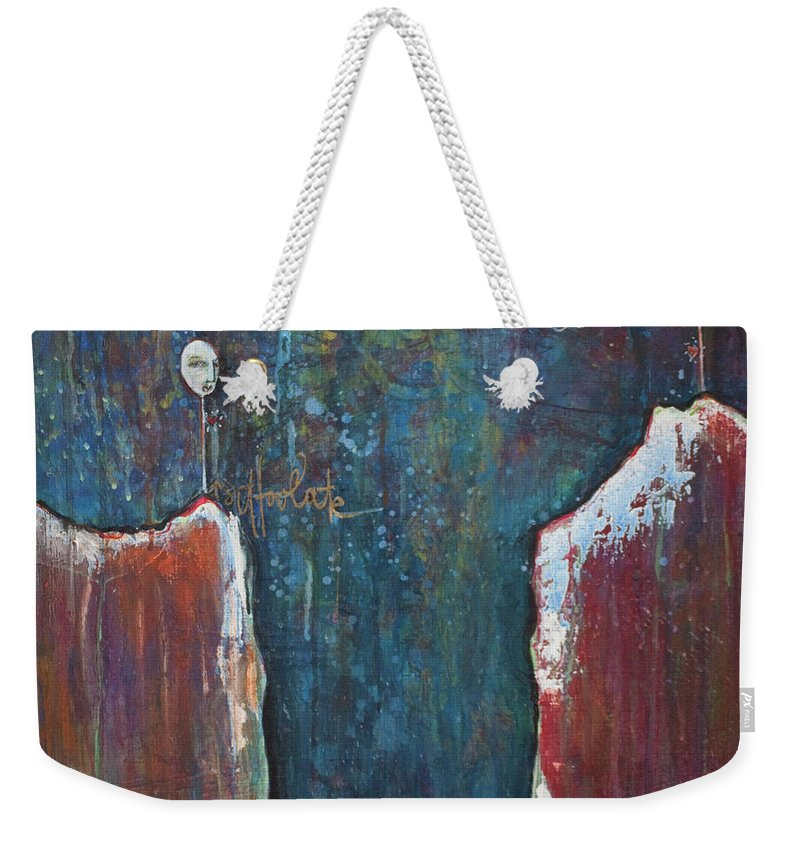Lollipops Weekender Tote Bag featuring the painting I'm Holding On by Laurie Maves ART