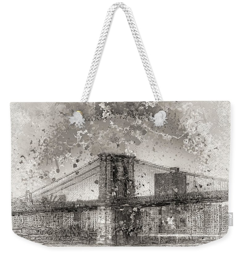 Recent Weekender Tote Bag featuring the photograph Im Selling The Brooklyn Bridge Or At Least A Photo Of It by Geraldine Scull