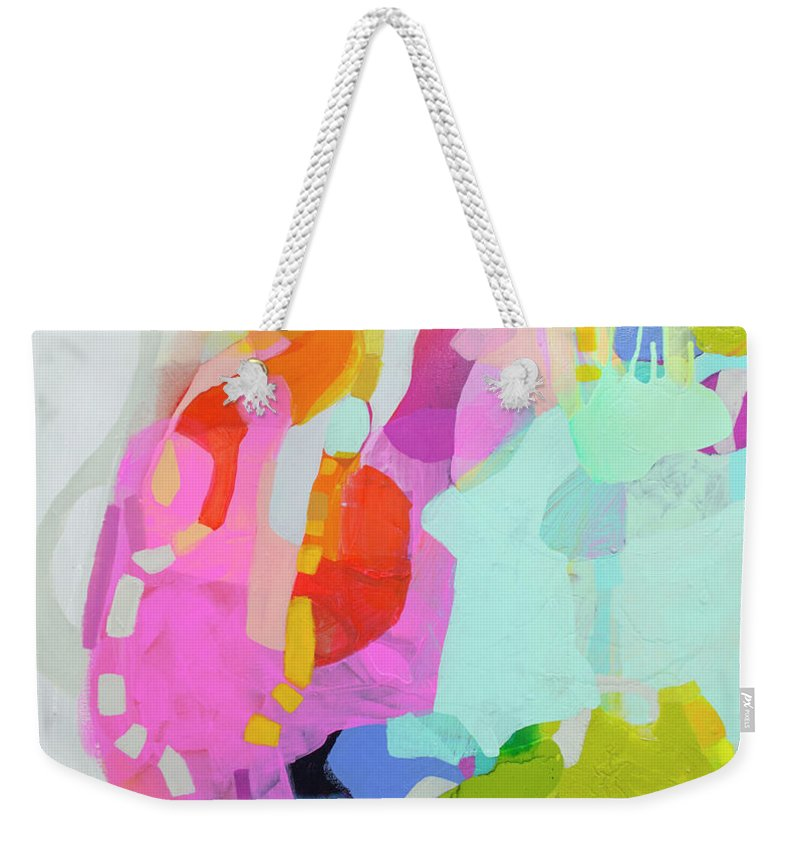 Abstract Weekender Tote Bag featuring the painting I'm So Glad by Claire Desjardins
