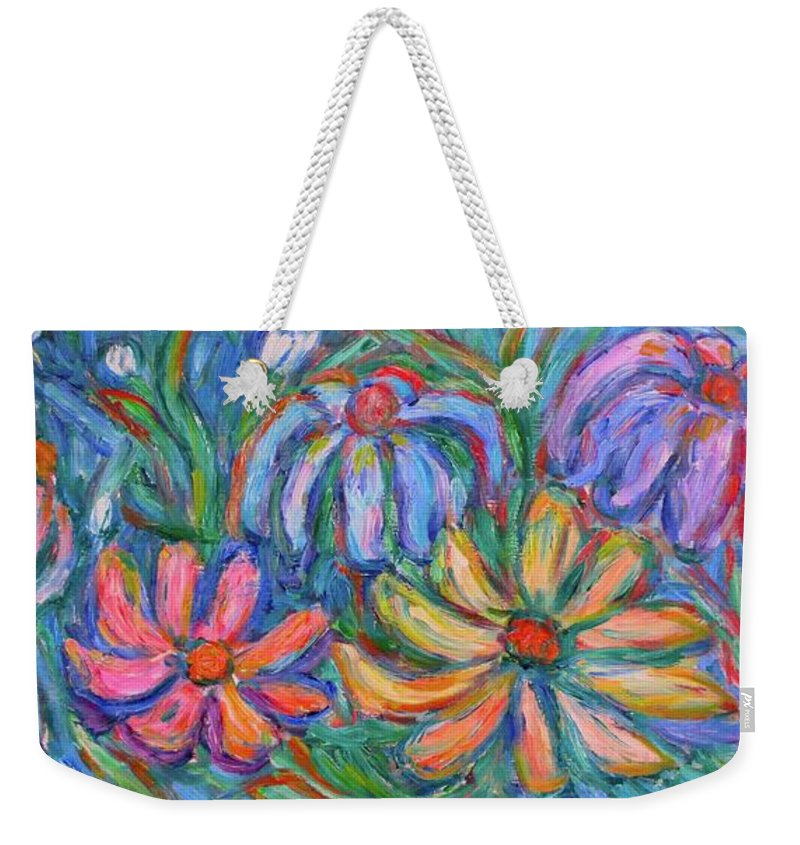 Flowers Weekender Tote Bag featuring the painting Imaginary Flowers by Kendall Kessler