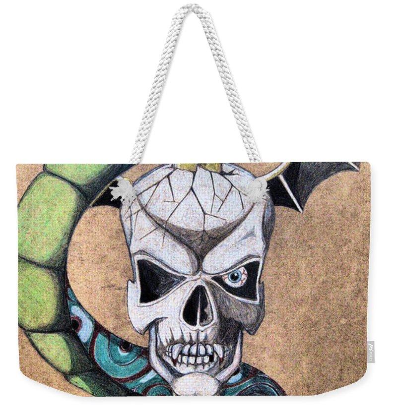 Cobra Weekender Tote Bag featuring the drawing imaginative Simbol by Alban Dizdari