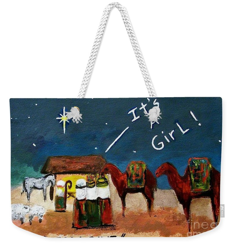 Christmas Card Weekender Tote Bag featuring the painting Imagine by Frances Marino