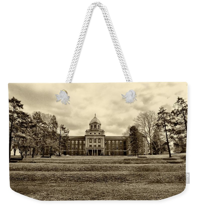 Immaculata Weekender Tote Bag featuring the photograph Immaculata University In Black And White by Bill Cannon