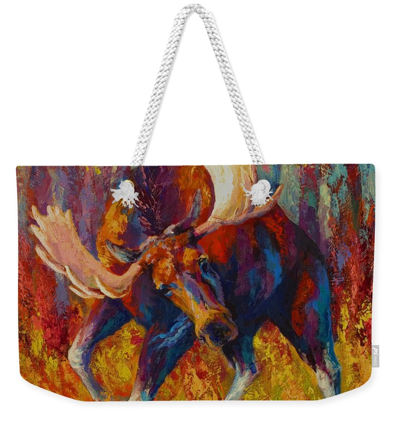Moose Weekender Tote Bag featuring the painting Imminent Charge - Bull Moose by Marion Rose