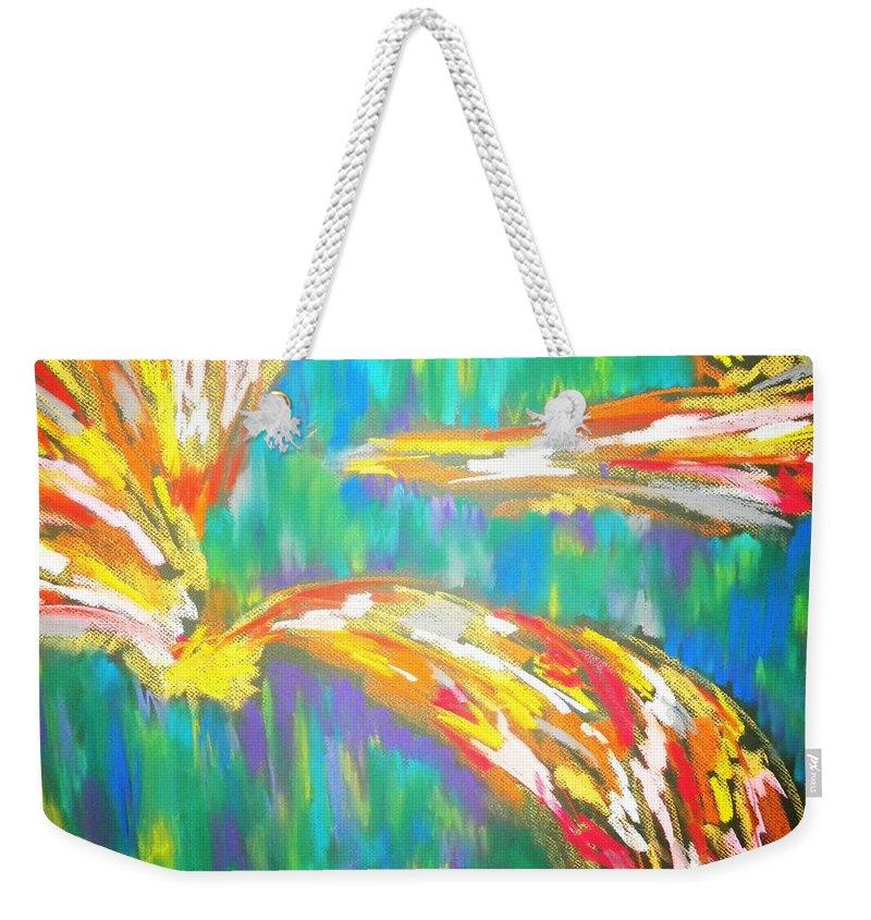 Pastel Weekender Tote Bag featuring the drawing Impact by Jan Gilmore