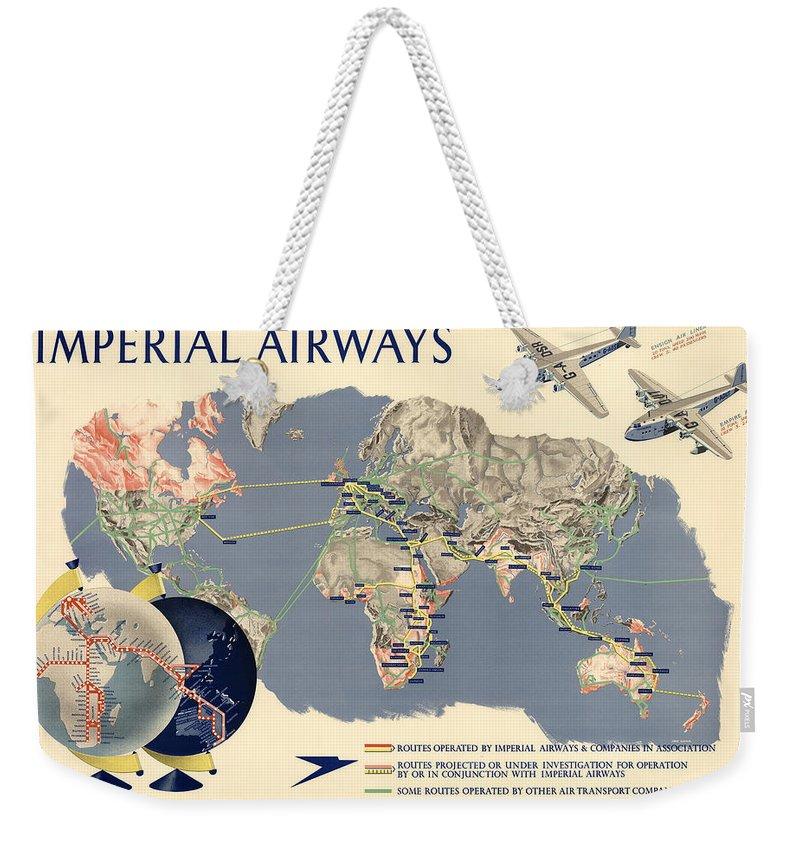Imperial Airways - Vintage Travel Advertising Poster - World Map Weekender on wwii map bag, travel bag, german map bag, korean map bag, military map bag, poster bag, russian map bag, italian map bag, vintage compass, world map bag, leather map bag,