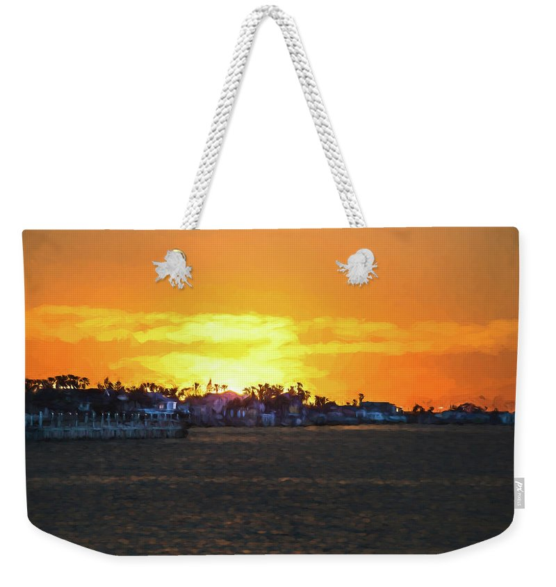 South Padre Island Weekender Tote Bag featuring the photograph Impressionistic Sunset by JG Thompson