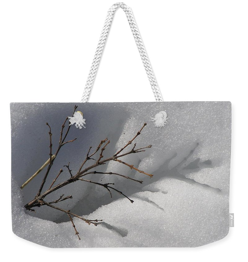 Snow Weekender Tote Bag featuring the photograph Impressions by DeeLon Merritt