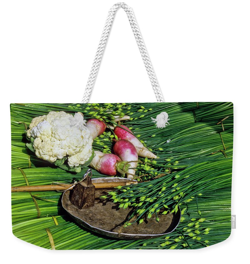 China Weekender Tote Bag featuring the photograph In A Chinese Market by Michele Burgess