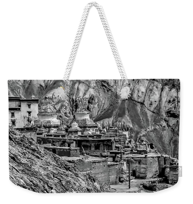 Ladakh Weekender Tote Bag featuring the photograph In A Far Land Bw by Steve Harrington