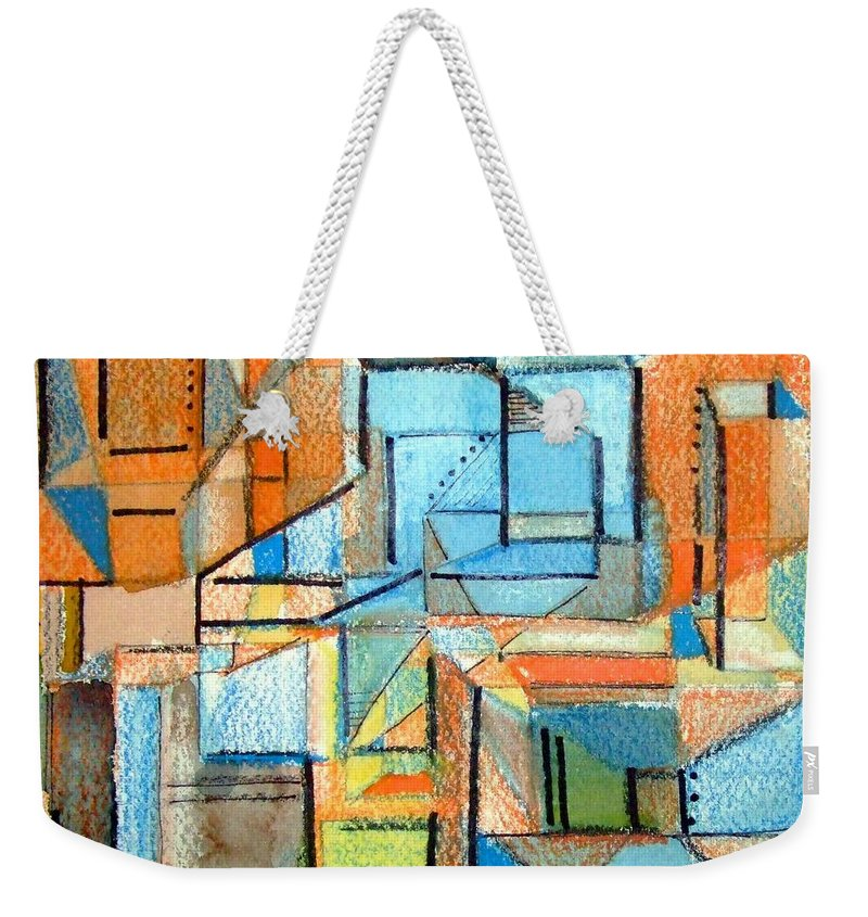 Abstraction Weekender Tote Bag featuring the painting In And Out by Mindy Newman