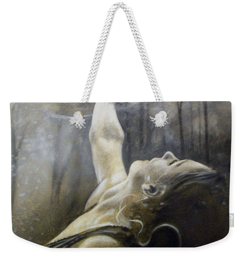 Spitfire Weekender Tote Bag featuring the painting In Awe by Riek Jonker