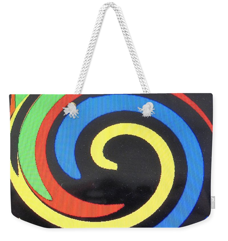 Red Weekender Tote Bag featuring the digital art In Balance by Ian MacDonald