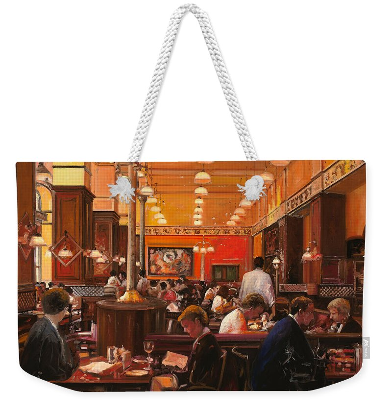 Coffee Shop Weekender Tote Bag featuring the painting In Birreria by Guido Borelli
