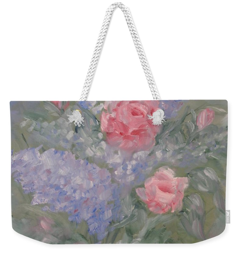 Flowers Weekender Tote Bag featuring the painting In Bloom by Carrie Mayotte