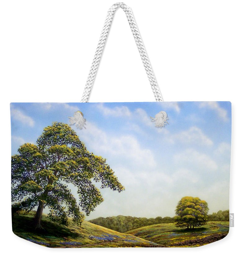 Landscape Weekender Tote Bag featuring the painting In Bloom by Frank Wilson