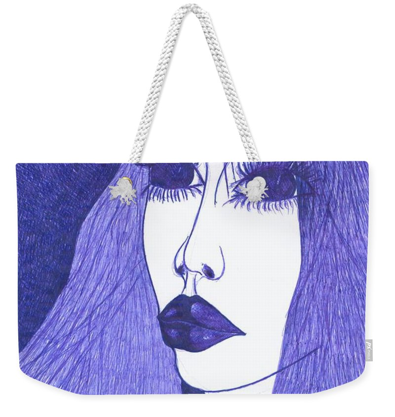 Psychedelic Weekender Tote Bag featuring the drawing In Blue Colour by Wojtek Kowalski