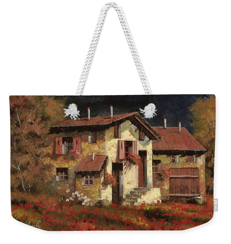 Landscape Weekender Tote Bag featuring the painting In Campagna La Sera by Guido Borelli