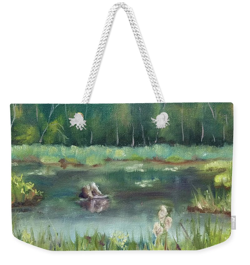 Marsh Weekender Tote Bag featuring the painting In Company of Bullfrogs by Sharon E Allen
