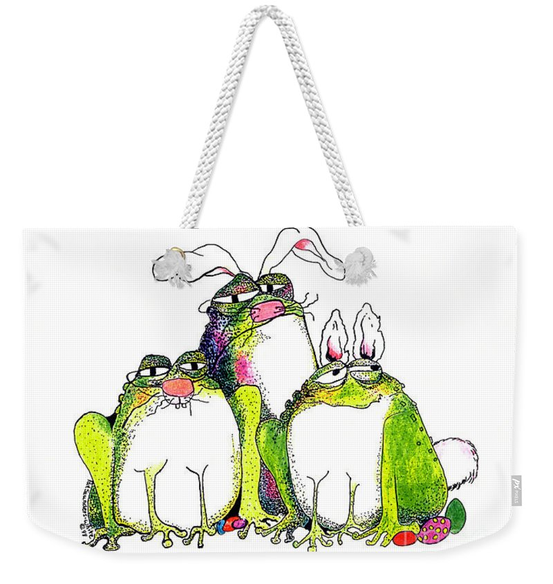 Easter Bunnies Weekender Tote Bag featuring the painting In Disguise by Pat Saunders-White