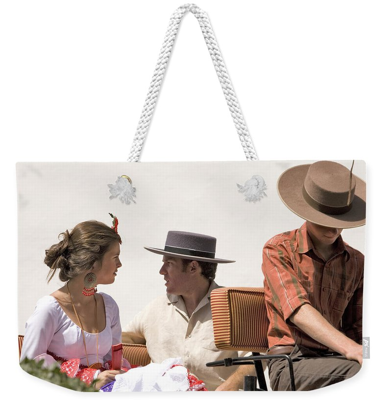 Flamenco Weekender Tote Bag featuring the photograph In Flamenco Dress For The Bullfight by Mal Bray