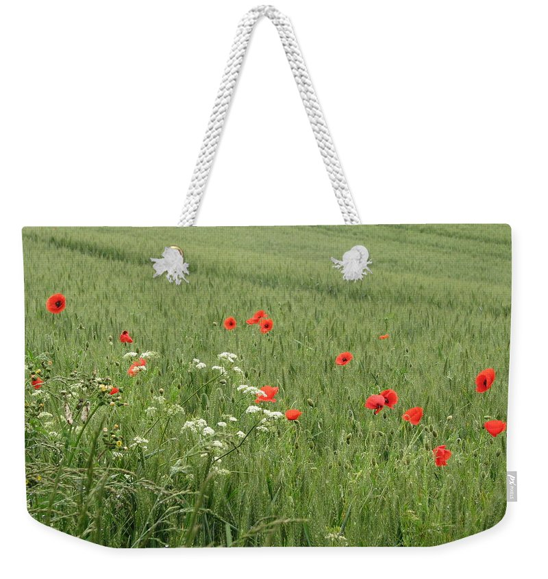 Lest-we Forget Weekender Tote Bag featuring the photograph in Flanders Fields the poppies blow by Mary Ellen Mueller Legault