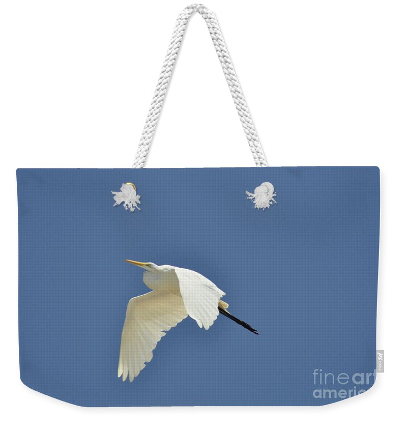 Clay Weekender Tote Bag featuring the photograph In Flight by Clayton Bruster