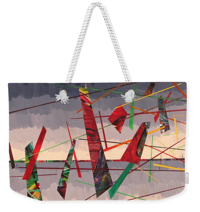 Abstract Weekender Tote Bag featuring the painting In Flight by Rollin Kocsis