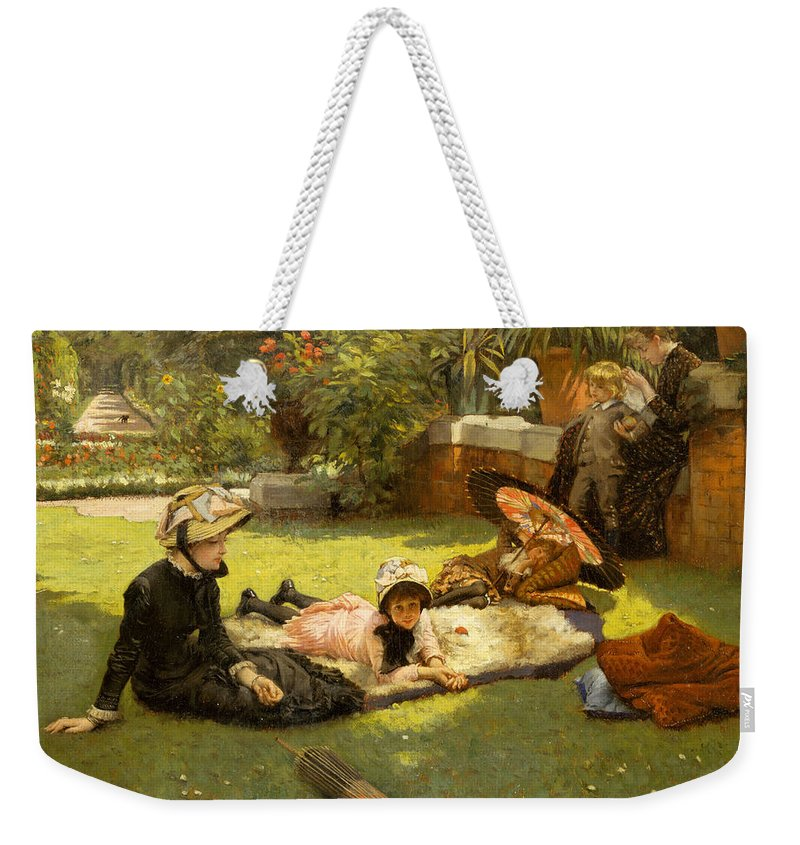James Jacques Joseph Tissot Weekender Tote Bag featuring the painting In Full Sunlight by James Jacques Joseph Tissot