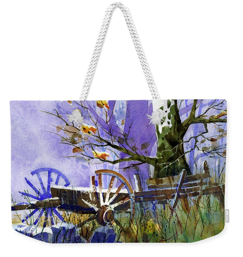 Antiques Weekender Tote Bag featuring the painting In Harmony by Lee Klingenberg