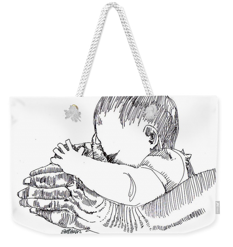 Ink Drawing Weekender Tote Bag featuring the drawing In His Hands by Seth Weaver