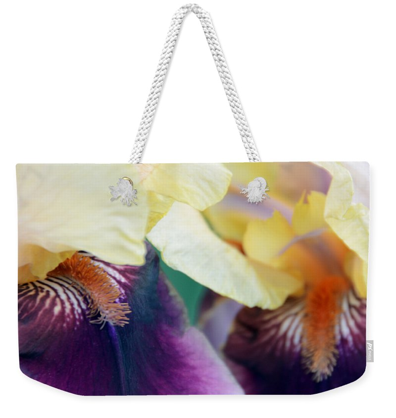 Iris Weekender Tote Bag featuring the photograph In Love With Iris by Angelina Tamez