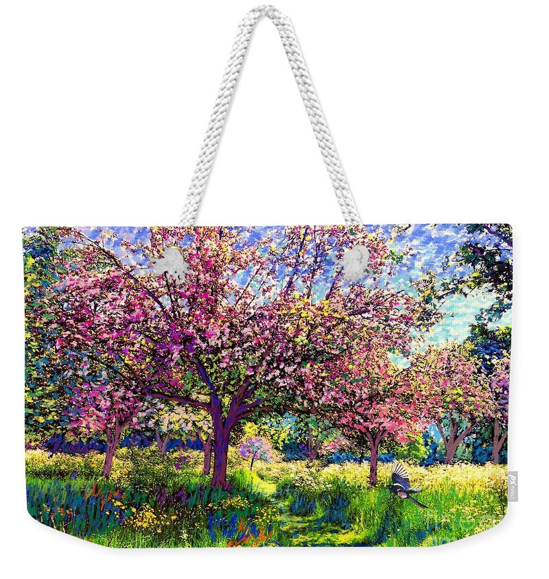 Blossom Weekender Tote Bag featuring the painting In Love With Spring, Blossom Trees by Jane Small