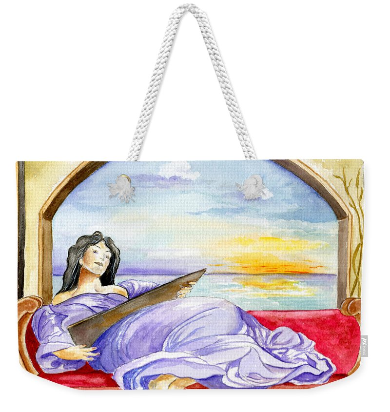 Landscape Woman Romantic Figure Window Sea Sky Weekender Tote Bag featuring the painting In Paradisum by Brenda Owen