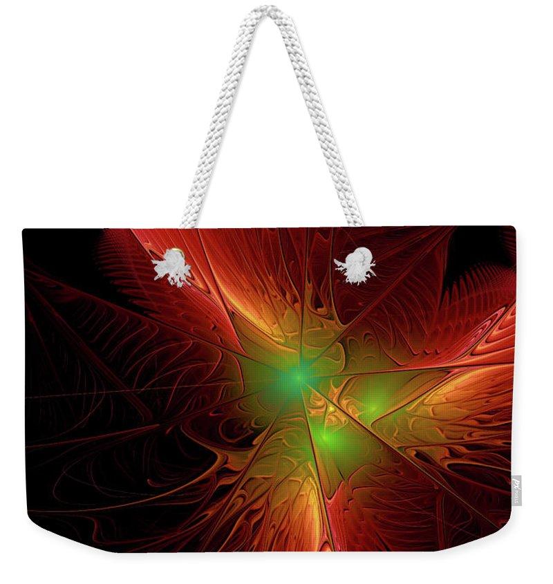 Fractal Weekender Tote Bag featuring the digital art In Red 0020 by Deborah Benoit